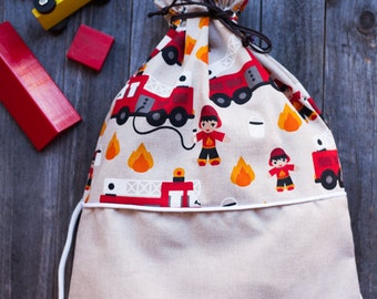 Print button-FIREMEN backpack BAG. Perfect for the nursery