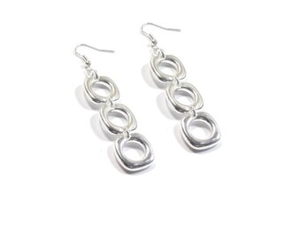 Sterling Silver Triple Circle Dangle Earrings  , Gift For her