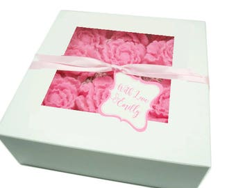 Peonies Gift Box  - Choose Colors - Bath Set - Luxurious Botanical Soaps