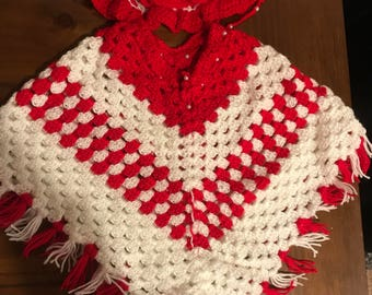 Hand knit poncho with hat