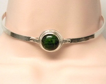 Discreet Slave Collar Hidden Screw Locking Sterling Silver &  Green Chrome Diopside Gemstone Slave 5mm Mockingbird Lane Wire