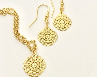 24K Gold plated Openwork Pendant with 20-inch chain