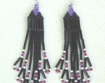 Beaded earrings, tribal earrings,hand made jewelry, hand made earrings, fringe earrings, Native American inspired, black earrings