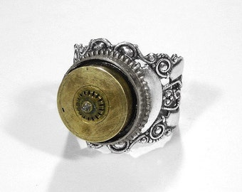 Steampunk Jewelry Ring, MENS BOLD Vintage Mixed Metals, RARE Gears SERIoUS Steamy Ring, Boyfriend Ring,Bikers,  Burning Man - by edmdesigns