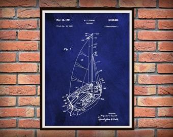 Patent 1964 Sailboat Art Print Designed by Andrew Court  - Poster Print - Nautical - Ship Wall Art - Marina Wall Art