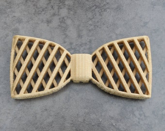 3D Printed Wooden Bow Tie - Natural