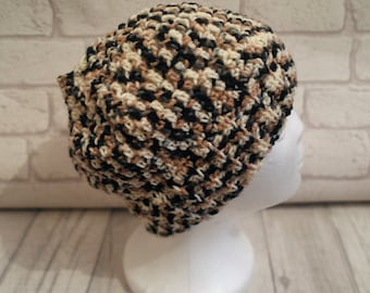Ponytail, messy bun hat, crochet, joggers hat, brown, cream, black