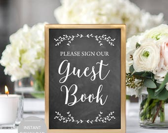 Guest Book Sign, Guest Book Wedding Sign, Please Sign Our Guest Book Sign, Printable Guest Book Sign, Guest Book Sign Instant Download