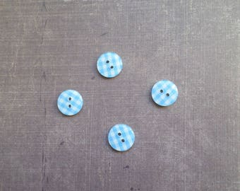 Plaid gingham Blue 1.3 cm 40 buttons