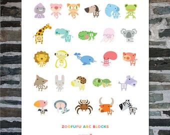 ABC Block Zoofufu Art Print 16 x 20 | Nursery decor, Kids gift, Alphabet art, Animal Nursery wall art, Baby shower gift, Baby room, Zoo
