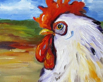 Rooster chicken oil painting farm bird Art by Delilah
