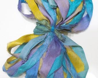 10YD. MAUI Sari Silk Bundle//Dyed Silk Sari Ribbon Bundle//Sari Tassels,Sari Wall Decor,Sari Fiber Jewelry,Sari Tapestry