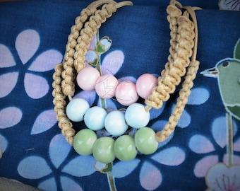 Handmade Chunky ceramic bead woven bracelet.  Children's boho - 4 colours