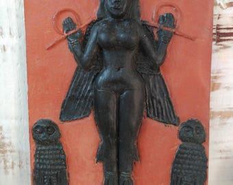 Lilith Goddess ceramic sculpture relief plate clay handmade art altar