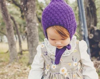 THE QUINN BONNET, pixie bonnet, pixie hat, knit bonnet, toddler bonnet, baby bonnet, toddler hat, baby hat, knit hat, photo prop, crochet