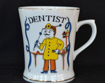 Vintage Dentist Mug with Illustration and Gold Paint by A Heritage Product Japan