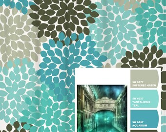 Shower Curtain Blue Aqua Gray Venice Inspired Floral Standard And Long Lengths 70 74 78 Or 96 Inch Lets Make One In Your Colors