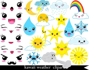 51 PNG Files Kawaii Weather Clipart Digital Clip Art Graphics (006)