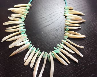 Seaweed Mother of Pearl and Coral Necklace in Sea Foam Green