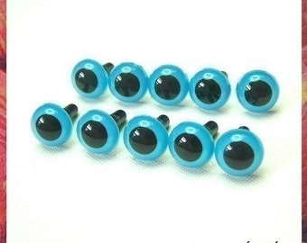 10.5mm BLUE animals eyes amigurumi eyes plastic eyes safety eyes - 5 PAIRS (10bL)