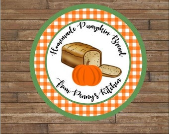 Personalized Bread Labels - Pumpkin Bread Labels - Homemade Bread Tags - Baked By
