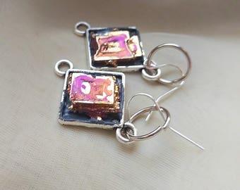 Bismuth earrings, rainbow earrings, raw crystal earrings, colorful statement earrings, boho gypsy earrings, hippie jewelry, stone earrings