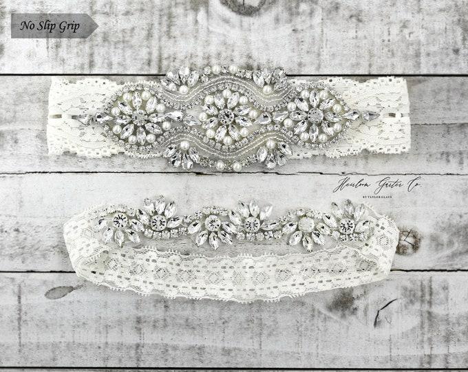 Ivory Wedding Garter, Bridal Garter, NO SLIP Lace Wedding Garter Set, bridal garter set, IVORY B05S-CB05S