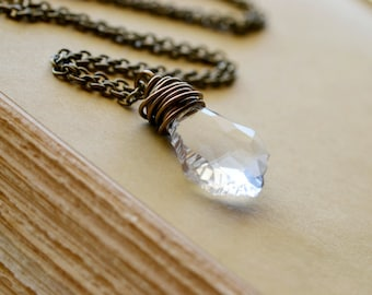 Clear Crystal Necklace, Simple Antiqued Brass Wire Wrapped Jewelry, Baroque Shape White Swarovski Crystal Pendant, Zirconia