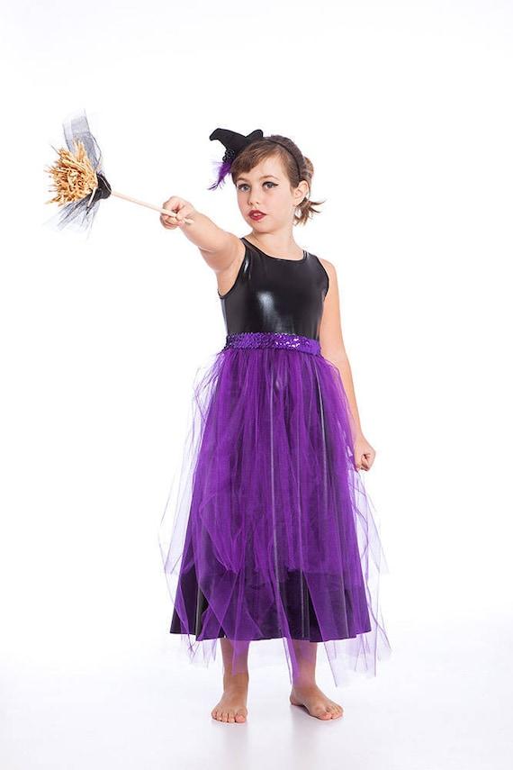Bruja traje traje de bruja negro y morado niñas niño