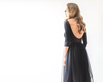 Black Open Back Wedding Dress maxi tulle, maxi tulle dress, Low back tulle dress 1050