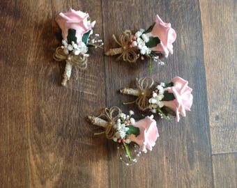 Set of 4 pink artificial button hole/corsages