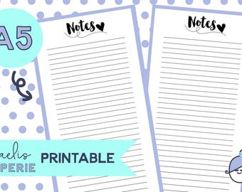 Printable - NOTES - Planner Inserts - Planner inserts for Large/A5 Planners Filofax or Kikki K