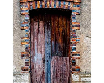 Colorful French Brick and Wood Door Photograph, France,Textured, Rust Red, Brown, Orange, Blue, Beige- French Farm Door