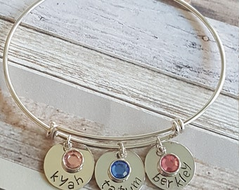 Sterling Silver Bangle; Hand Stamped Bangle Bracelet; Personalized Bangle Bracelet; Mother's Bangle Bracelet; Grandmother's Bangle Bracelet