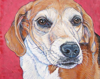 """Custom Pet Painting on Canvas Acrylic Portrait 10""""x10""""x.75"""" of Dog, Cat, Horse, Goat, Other Pet Lover OOAK Art Custom Dog Memorial or Gift."""