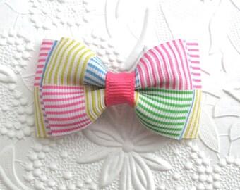 Preppy Hair Bow ~ Seersucker Hair Bow ~ Toddler Girls Pastel Stripe Hair Bow Clip ~ Simple Hair Bow