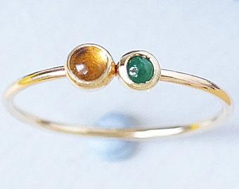 Emerald Ring, Emerald Gold Ring, Ruby Ring, Dainty Ring, Birthstone Ring, 9ct Gold Ring, Ruby, Citrine Ring, Stacking Ring, Gemstone Ring