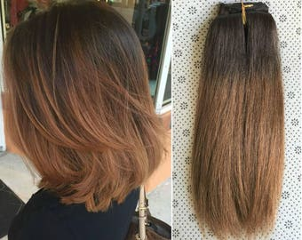 Full Head Dip dye Clip in Human Hair extensions Ombre 6 Pcs Dark brown to brownish blonde