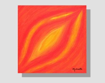 """Peinture abstraite contemporaine à l'acrylique sur toile. """"Feuille automnale"""", petit tableau carré orangé. peinture feuille. cadeau maison."""