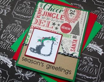 Cat Christmas Card, Cat Holiday Card, Christmas Cat, Cat Holiday Card, Christmas Card Sets, Seasons Greetings Card, Cat, Cat Cards, handmade