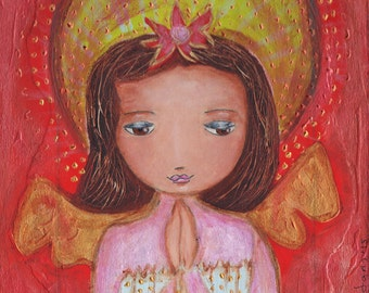 Angel Praying -  Giclee print mounted on Wood (4 x 5 inches) Folk Art  by FLOR LARIOS