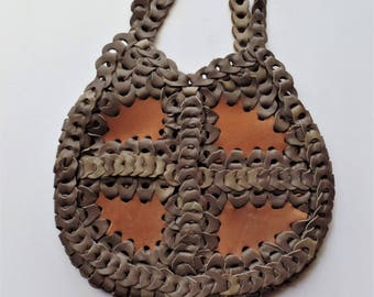 Vintage leather chainlink purse handbag 1970's hippie boho hobo bag chain link