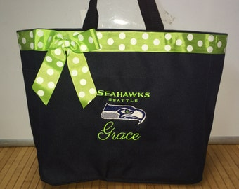 Personalized Seattle Sea Hawks Tote Bag Diaper Bag