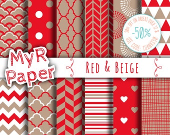 "Digital paper: "" Red &  Beige"" pack for scrapbooking, invite, card – fans, japanese, dots, hearts, stripes, chevron, moroccan"