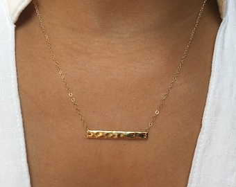 Hammered Bar Gold Fill Necklace, Bar Pendant, Horizontal Bar, Dainty 14k Gold Filled Chain, Minimalist Delicate Jewelry