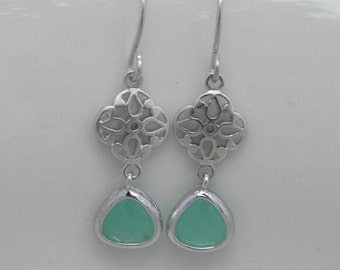 Mint Earrings, Small Drop Earrings, Small Dangle Earrings, Bridesmaid Gift, Gift For Her