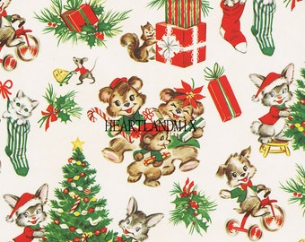 Vintage Holiday Merry Christmas Wrapping Wallpaper Paper Digital Image
