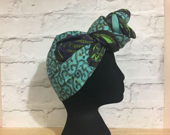 Turquoise head wrap, African head scarf, African print head wrap,  African head wrap, ankara headwraps, UK free shipping