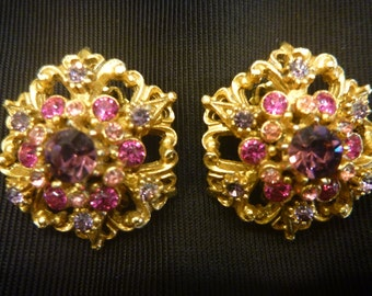 Vintage FLORENZA Rhinestone Earrings