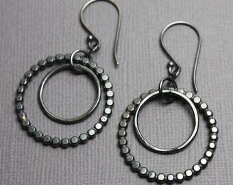 Large Sterling Silver Double Hoop Earrings, Oxidized Sterling Silver Hoops, Hoop Earrings, Dangle Earrings, Artisan Jewelry,Handmade Earring